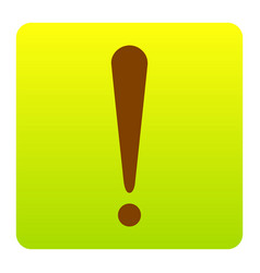 attention sign brown icon at vector image