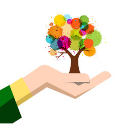 autumn colorful tree in human hand isolated on vector image
