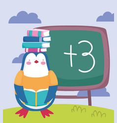 Back to school penguin with books on head vector
