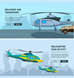 banners with helicopters design template of vector image