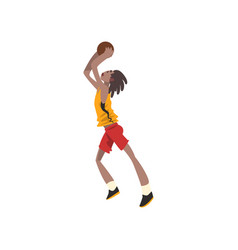 Basketball player athlete in uniform throwing vector