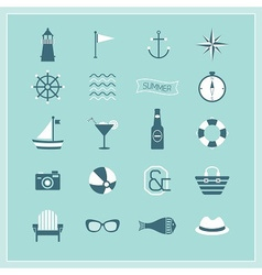 Blue Summer Naval and beach icons set vector