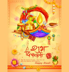 Burning diya on diwali holiday background vector