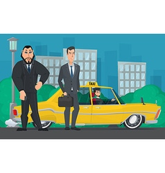 Businessman and bodyguard standing near a taxi vector