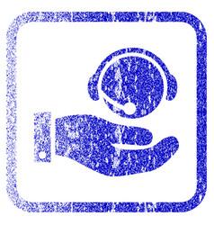 Call center service framed textured icon vector