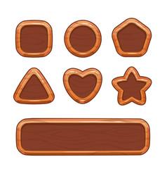 cartoon wooden shapes set vector image