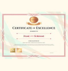 Certificate of excellence template on abstract vector