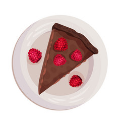 Chocolate pie or tart piece with raspberry as vector