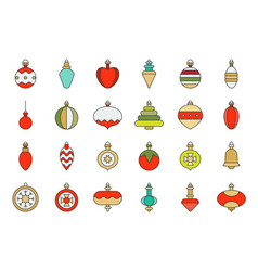 christmas ball ornaments icon set 2 flat design vector image