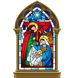 Christmas stained glass window in gothic frame vector