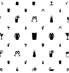 cocktail icons pattern seamless white background vector image