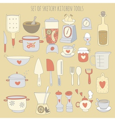 Colorful set of kitchen tools vector image