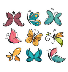 corporate identity butterflies isolated icons vector image