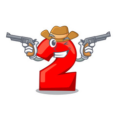 Cowboy cartoon paper number two on letter vector