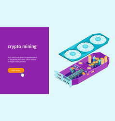 cryptocurrency mining banner 02 vector image