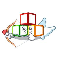 Cupid bright toy block bricks on cartoon vector