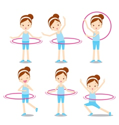 Cute girl with hula hoop twirling actions set vector