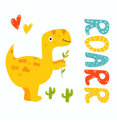 cute yellow trex dino roarr greeting card vector image