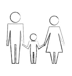 dad mom and son family together pictogram vector image