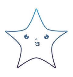 Degraded line kawaii cute shiny star art vector