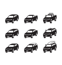 Different sport utility vehicles in perspective vector