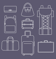 different types of bags white outline flat vector image