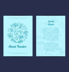 Doodle theatre elements card flyer or vector