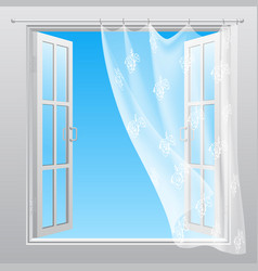 Double window with fluttering curtain vector