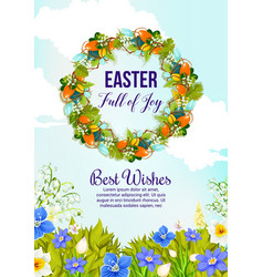 Easter wreath card with egg and spring flower vector