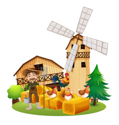 farmer and chickens on the farm vector image