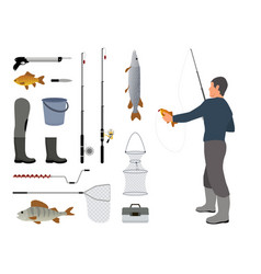 Fishing man and fish items set vector