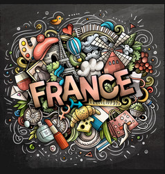 France hand drawn cartoon doodles vector