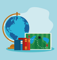 Geography tool with map and academic books vector
