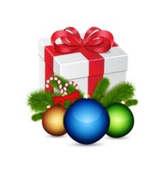 Gift with christmas balls vector image