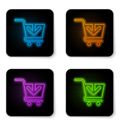 glowing neon add to shopping cart icon isolated vector image