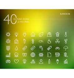 Green environment outline icons set vector