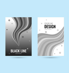 grey poster with black wave line on gradient vector image