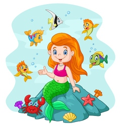 Happy little mermaid sitting on the rock surround vector image