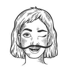 Happy woman with long mustache sketch engraving vector