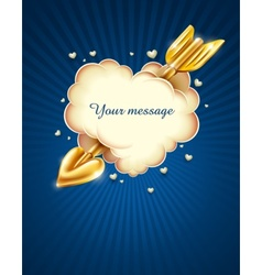 heart cloud striked by gold cupids arrow eps10 tra vector image
