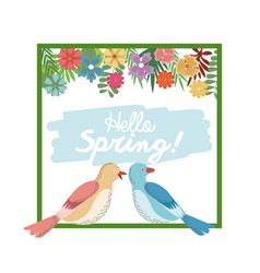Hello spring greeting card bird couple flower vector
