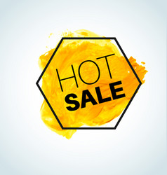 hot yellow sale watercolor element vector image