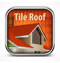 Icon with red tile roof vector image