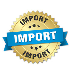 Import 3d gold badge with blue ribbon vector