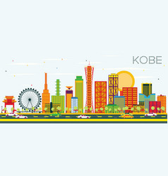 kobe skyline with color buildings and blue sky vector image