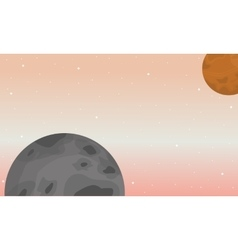 Landscape of space planets collection vector
