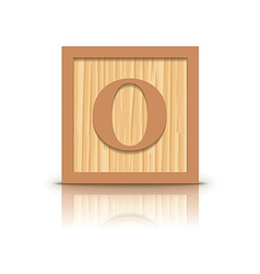 letter O wooden alphabet block vector image
