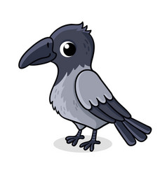 lonely crow with cute bird in vector image