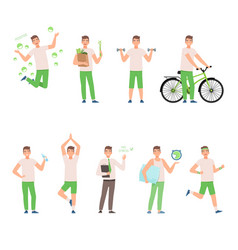 Man in a white shirt and green pants leads a vector