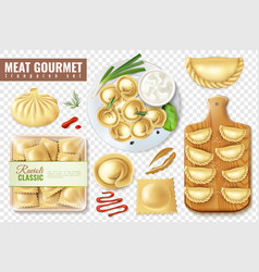 Meat pockets gourmet collection vector
